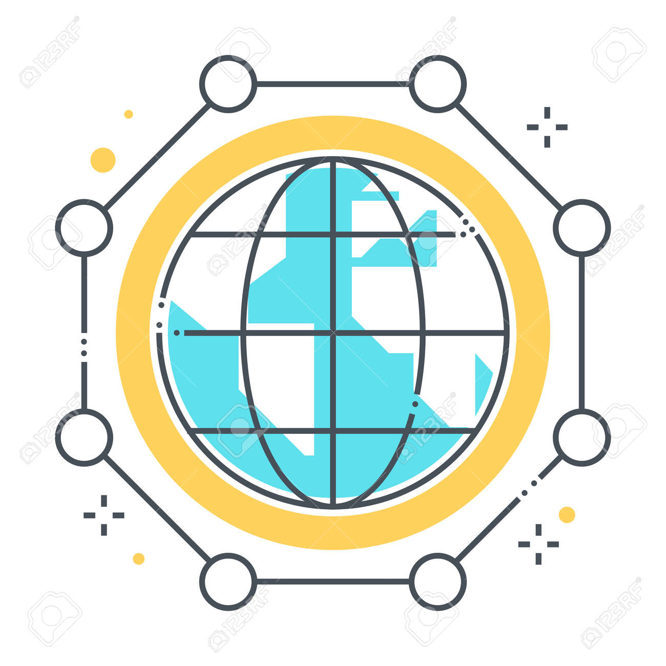 International connections related color line vector icon, illustration. The icon is about database, digital, global, globe, networking, planet. The composition is infinitely scalable. - 163698313