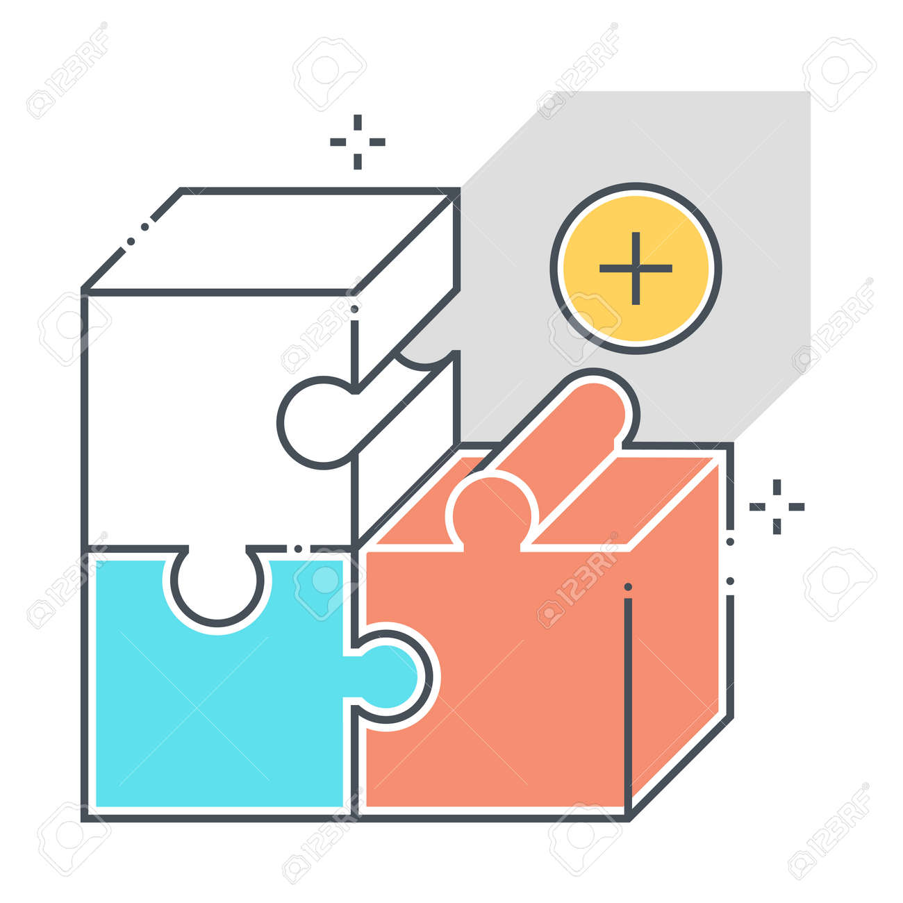 Product related color line vector icon, illustration. The icon is about market, fit, jigsaw, puzzle, solving, box. The composition is infinitely scalable. - 163698326