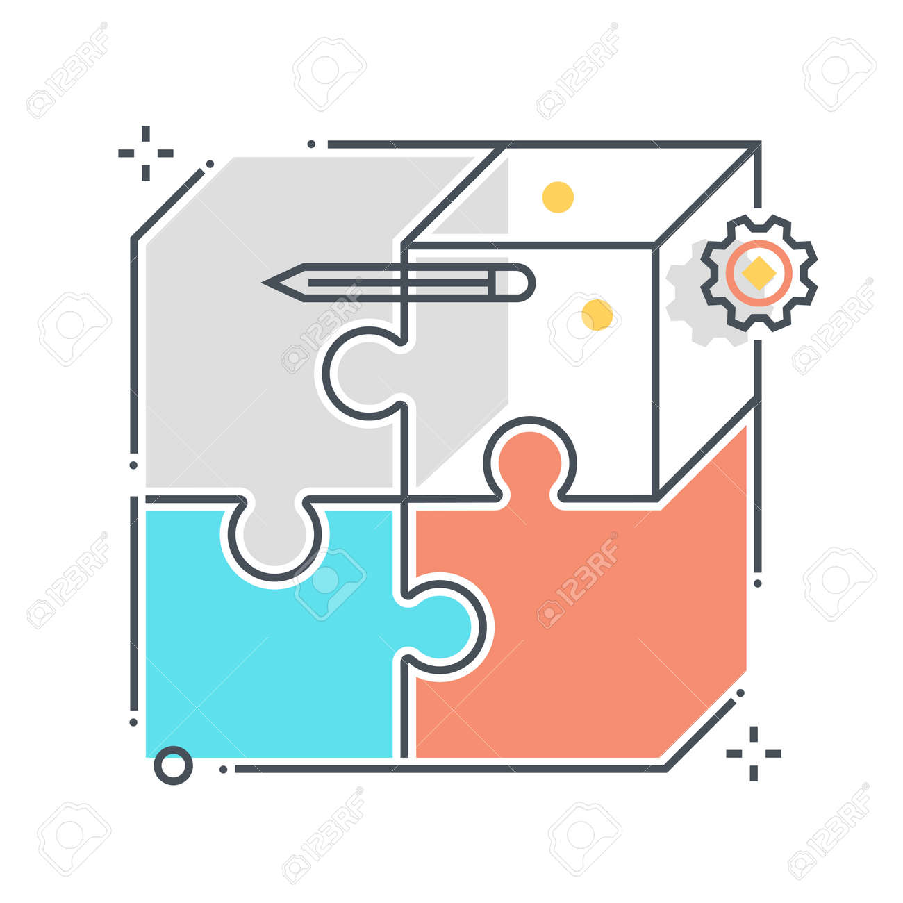 Puzzle related color line vector icon, illustration. The icon is about business market fit, jigsaw, solving, box. The composition is infinitely scalable. - 163698360