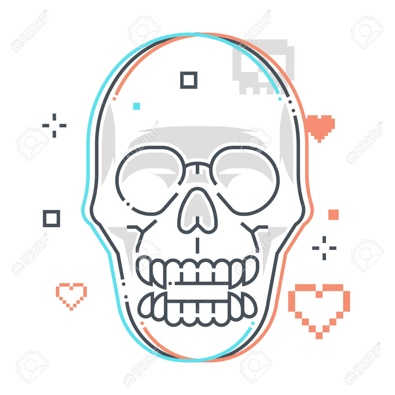 Skull related color line vector icon, illustration. The icon is about skeleton, game, monster, sprite, character, game over. The composition is infinitely scalable. - 163698365