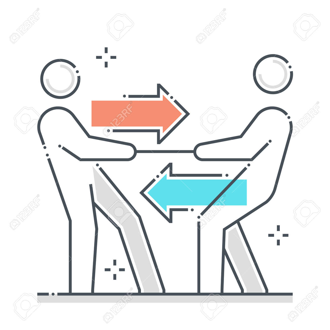 Legal case related color line vector icon, illustration. The icon is about opposition, court, pulling, rope, tug of war. - 163698376