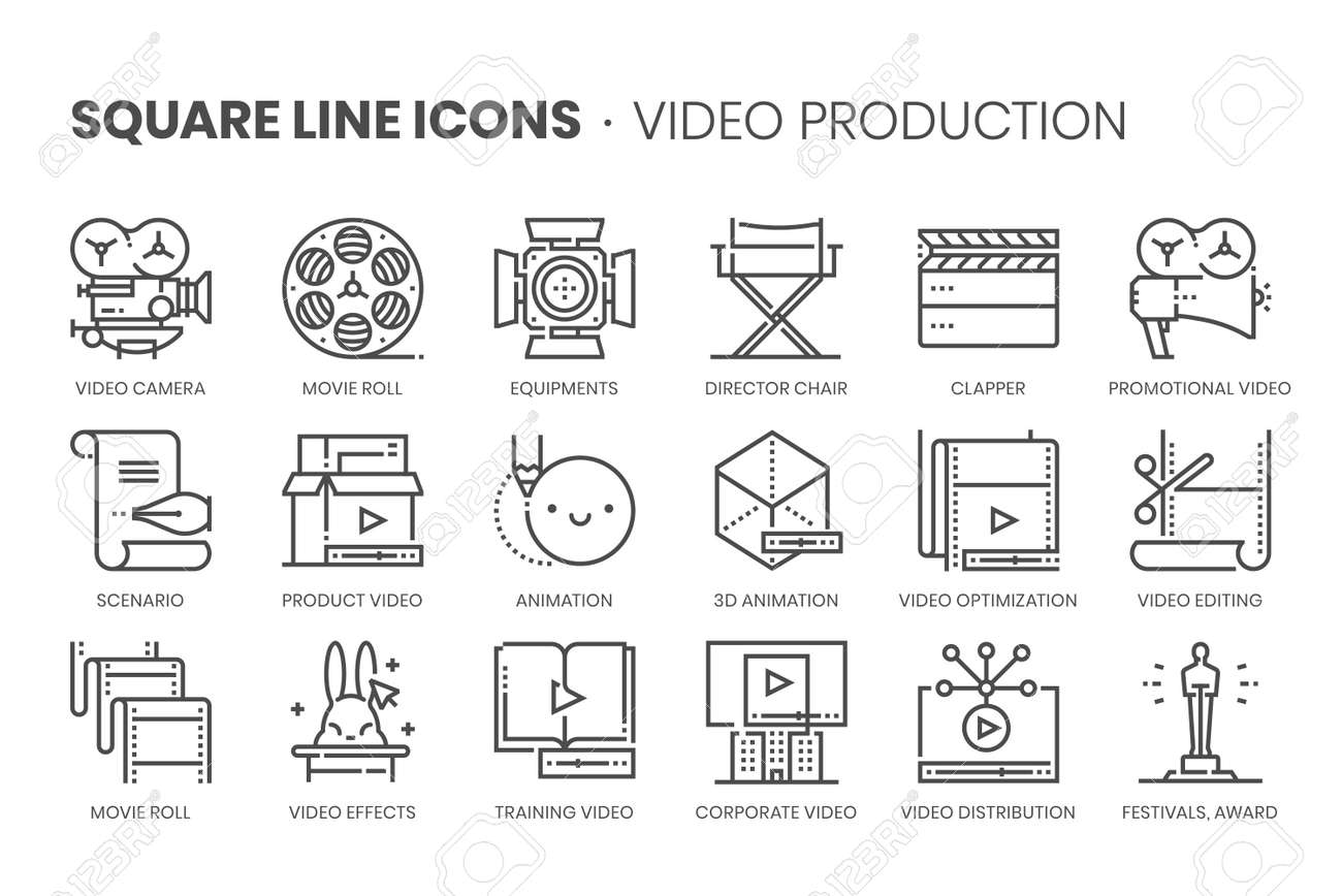 Video production, square line icon set. The illustrations are a vector, editable stroke, thirty-two by thirty-two matrix grid, pixel perfect files. - 164350806
