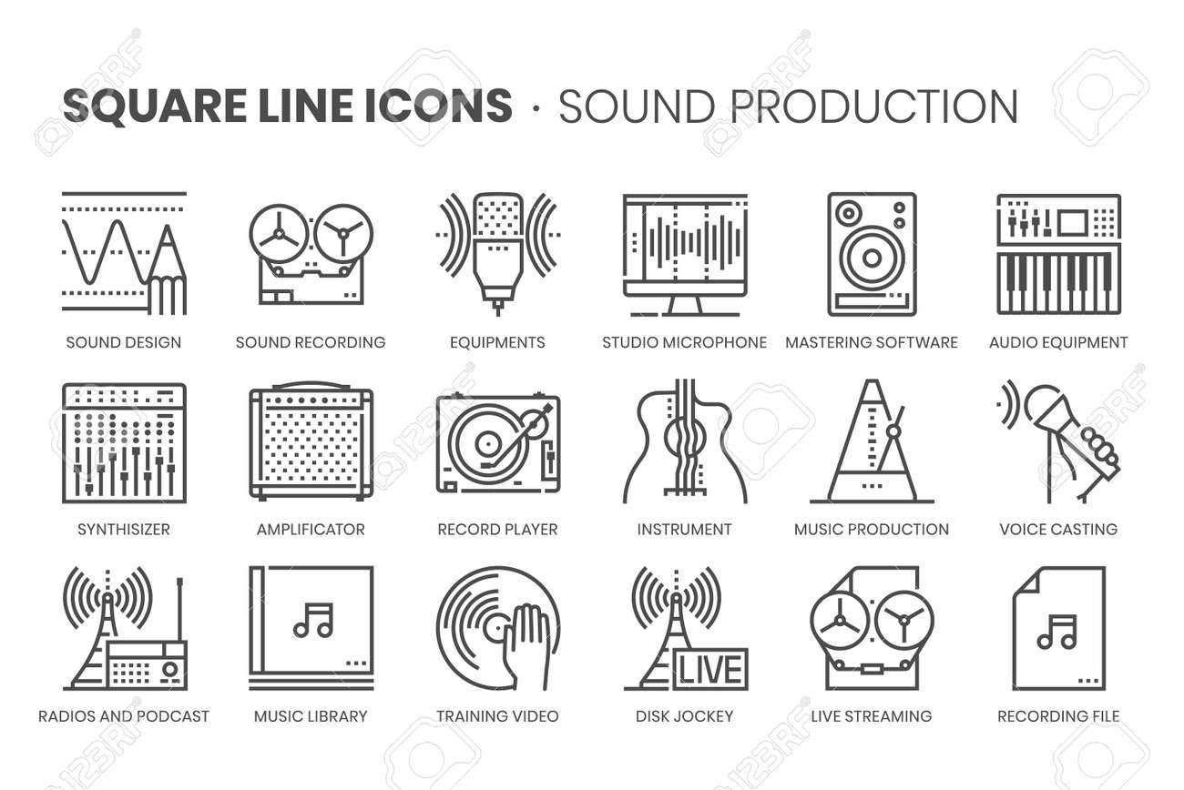 Music production, square line icon set. The illustrations are a vector, editable stroke, thirty-two by thirty-two matrix grid, pixel perfect files. - 164350485