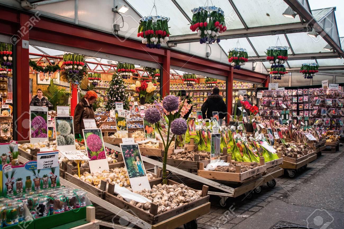 Floating Flower Market.Amsterdam Holland December 30 Amsterdam Flower Market Bloemenmarkt