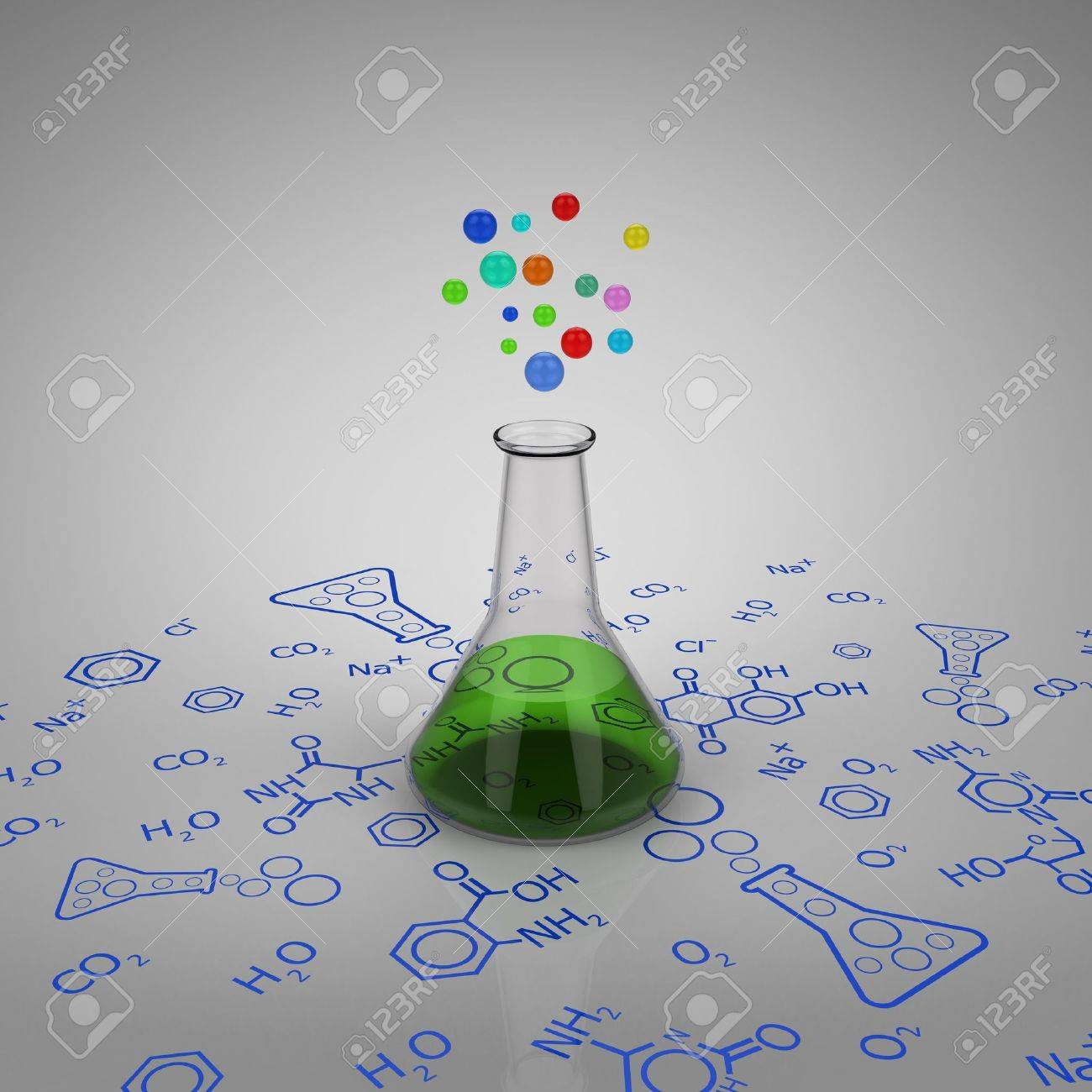 3D model of glass test tube with green liquid and bubbles on