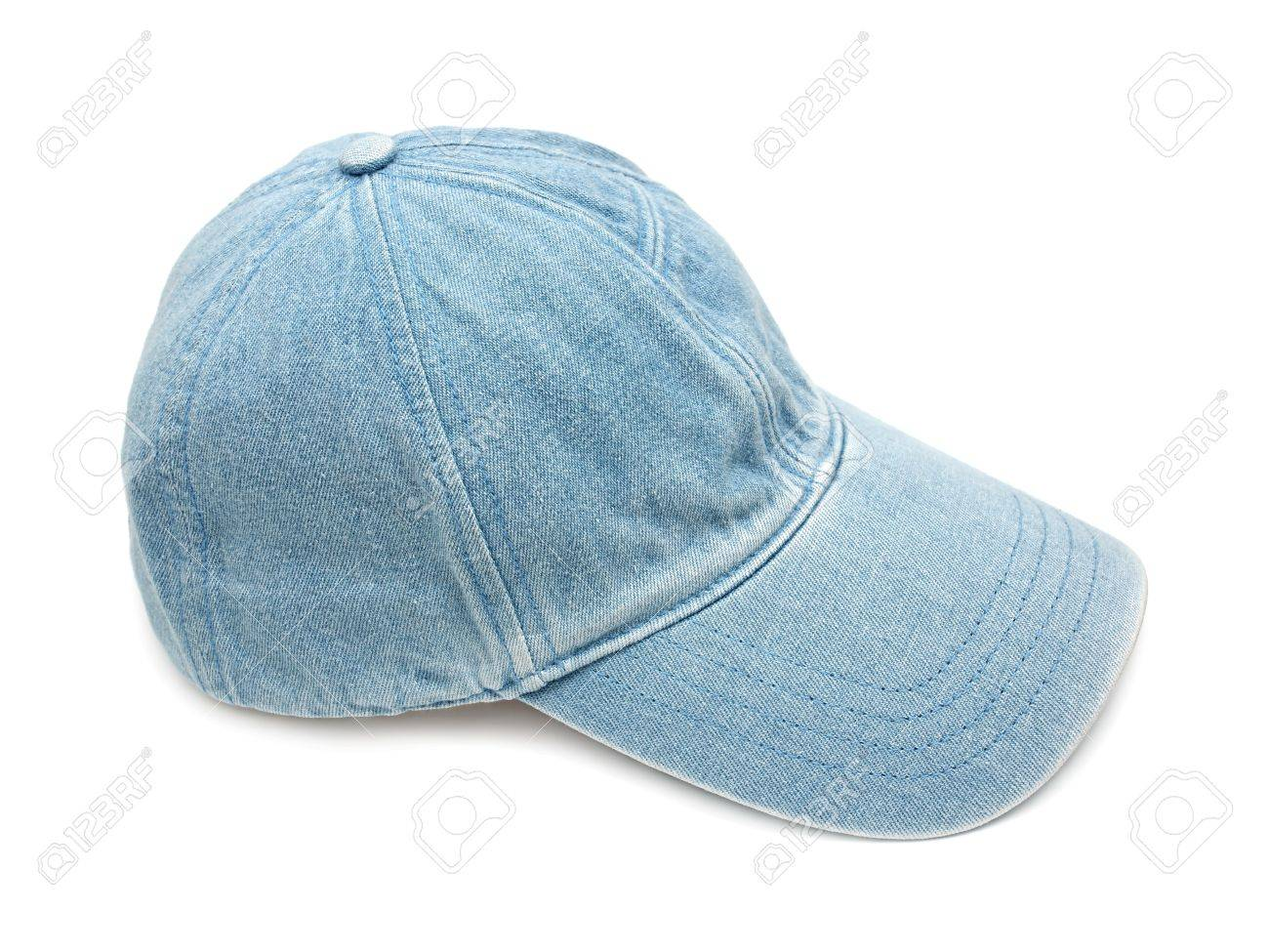 Blue jean fabric cap on white background Stock Photo - 20283696 c78d779ae1a