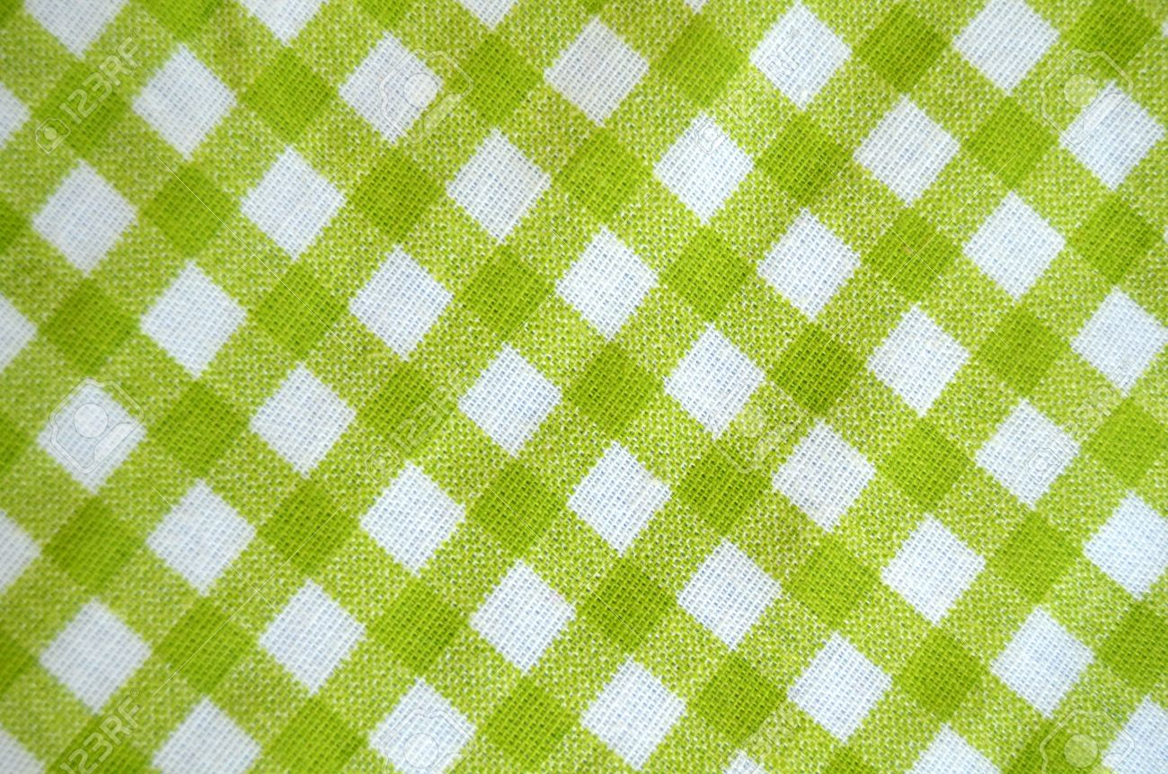Green And White Gingham Tablecloth Material Stock Photo   14714005