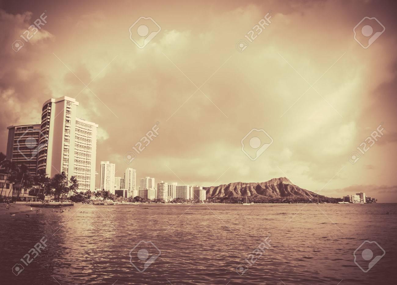Retro vintage style black and white photo of waikiki beach hawaii stock photo 26730624