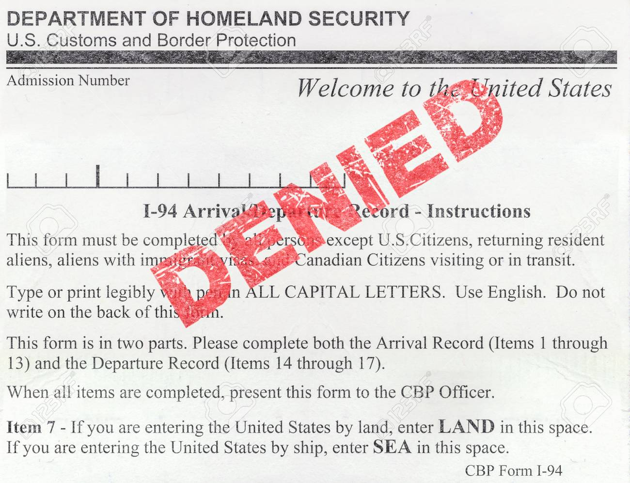 i 94 form usa  Detail Of A Denied USA Immigration Customs And Border Protection..