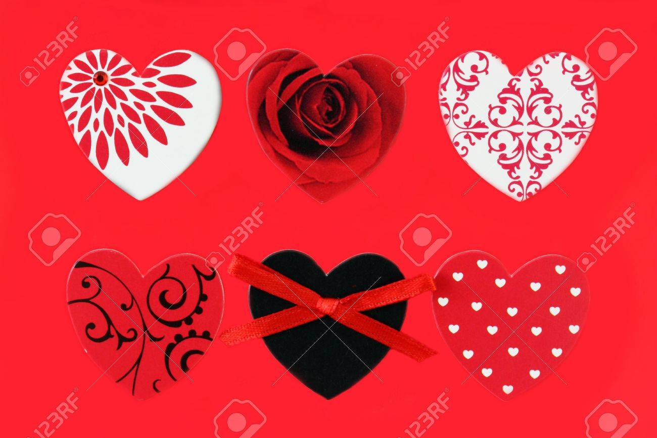 Six love heart designs on red background Stock Photo - 7454194