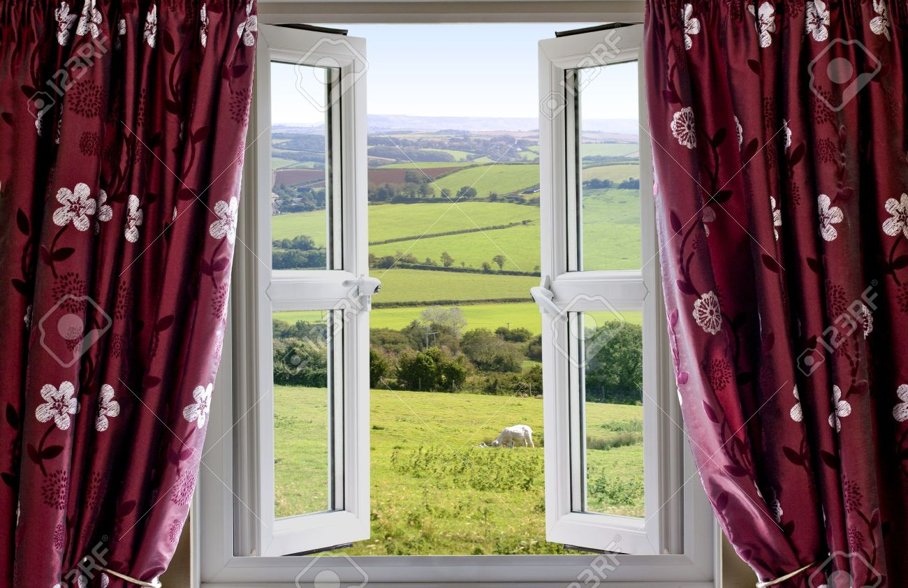 Open Window With View Across And English Countryside Stock Photo   9533671