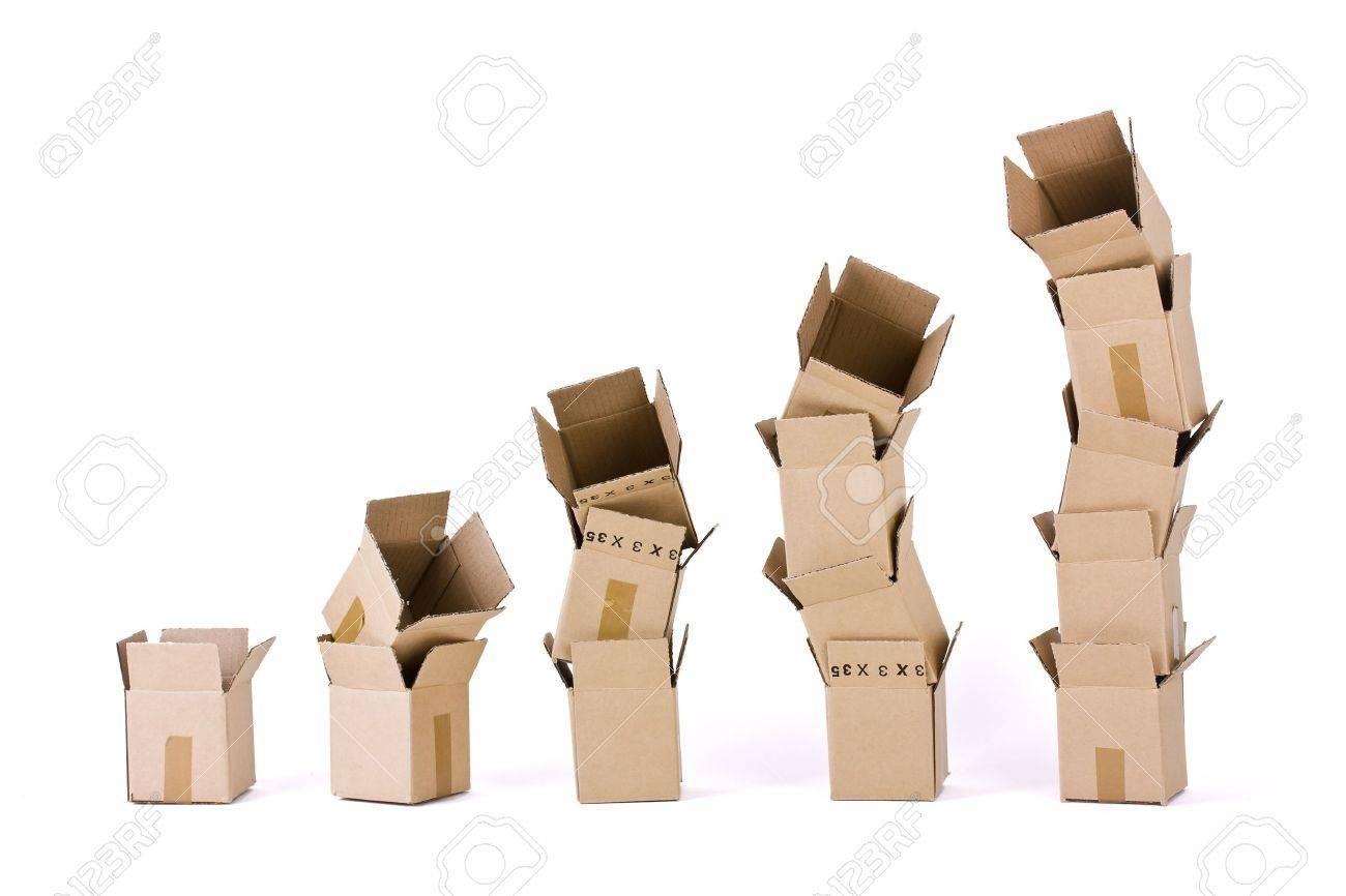 Five columns of boxes on white Stock Photo - 9768389