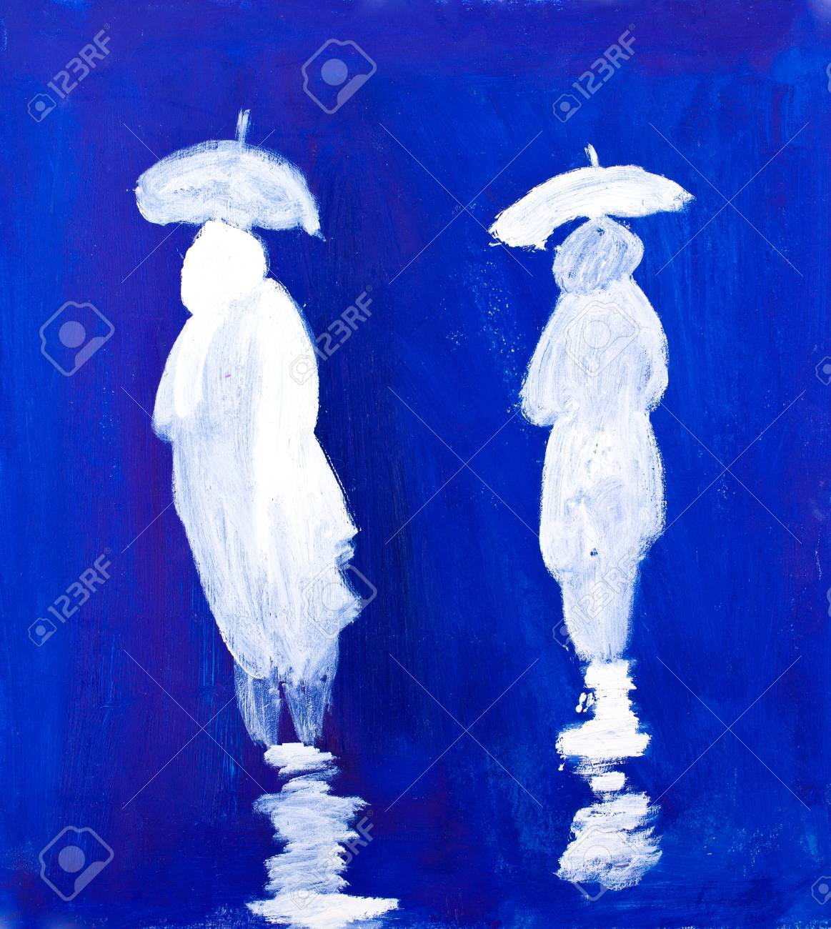 Rain Walkers painting in acrylic by Kay Gale Stock Photo - 11534728