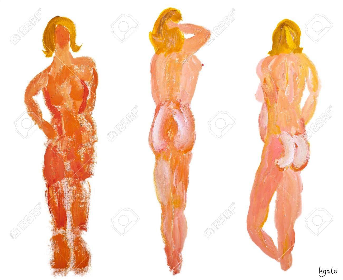 Tres personajes desnudos de modelos femeninos, por detrás, sobre un fondo blanco Foto de archivo - 11930386