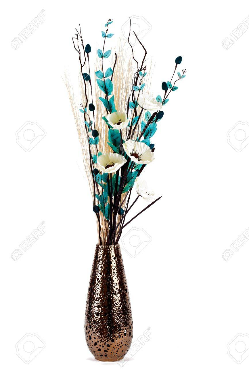 Tall stylish flower arrangement in a vase isolated Stock Photo - 11975617
