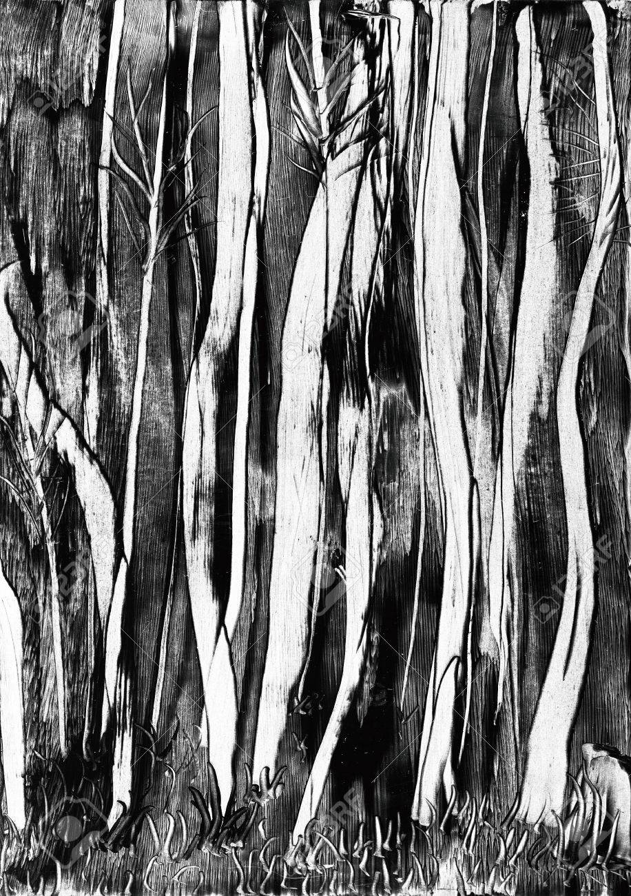 Spooky Trees Wax Painting