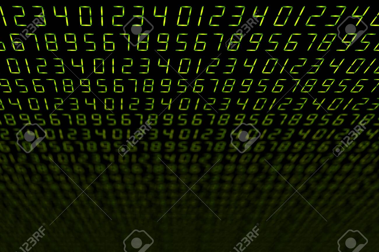 Led Number Font 0 9 Slanted On Black Technology Background Stock Photo Picture And Royalty Free Image Image 119461790