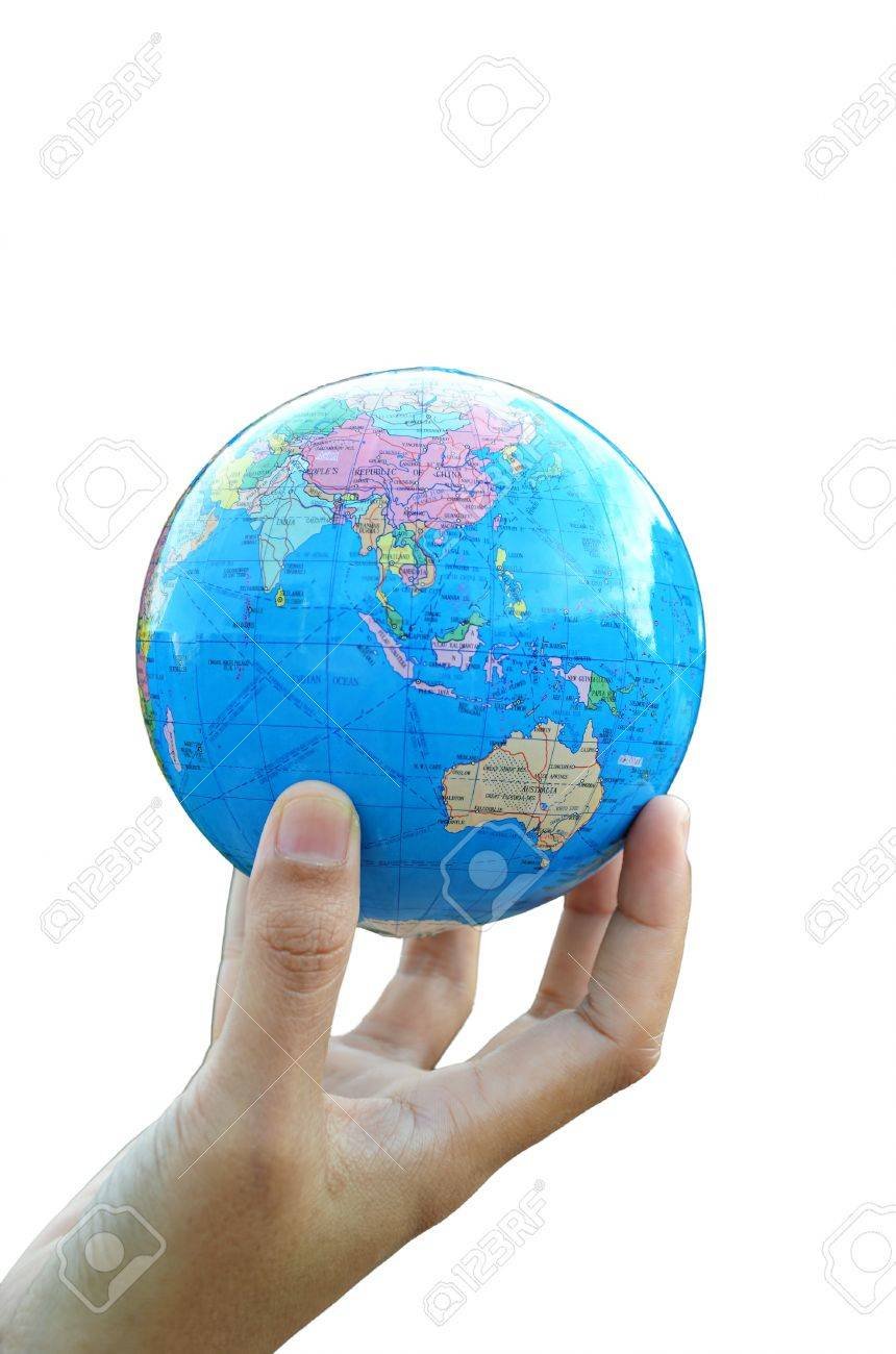 A globe on hand Stock Photo - 12246637