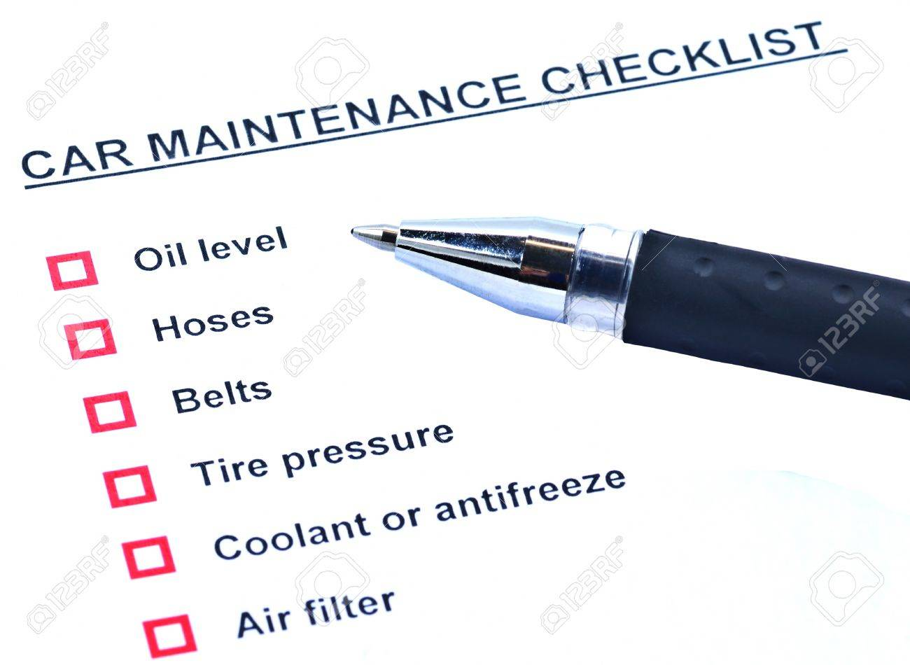 pen and blank checklist car maintainance stock photo picture and