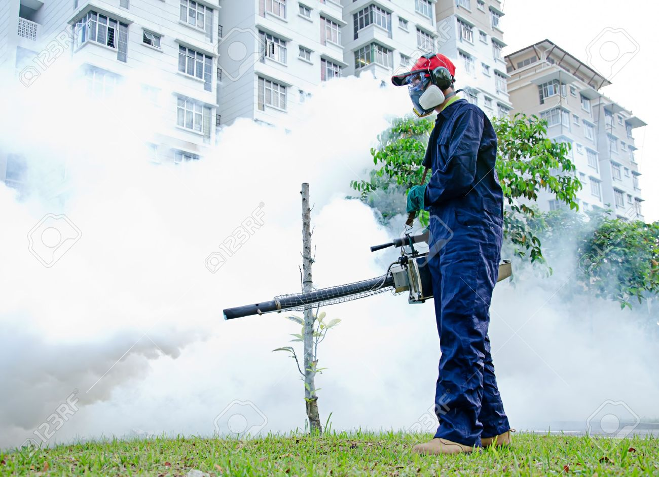 Environmental health workers are fogging for dengue control Stock Photo - 13505881