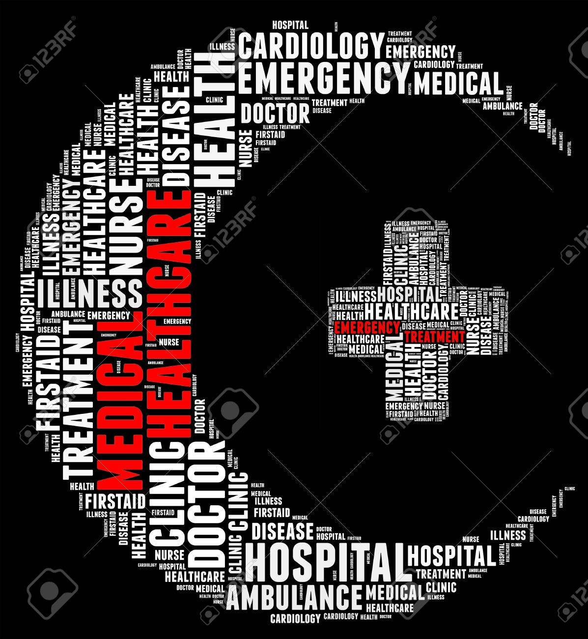 Emergency info text cloud collage crescent concept Stock Photo - 15875179