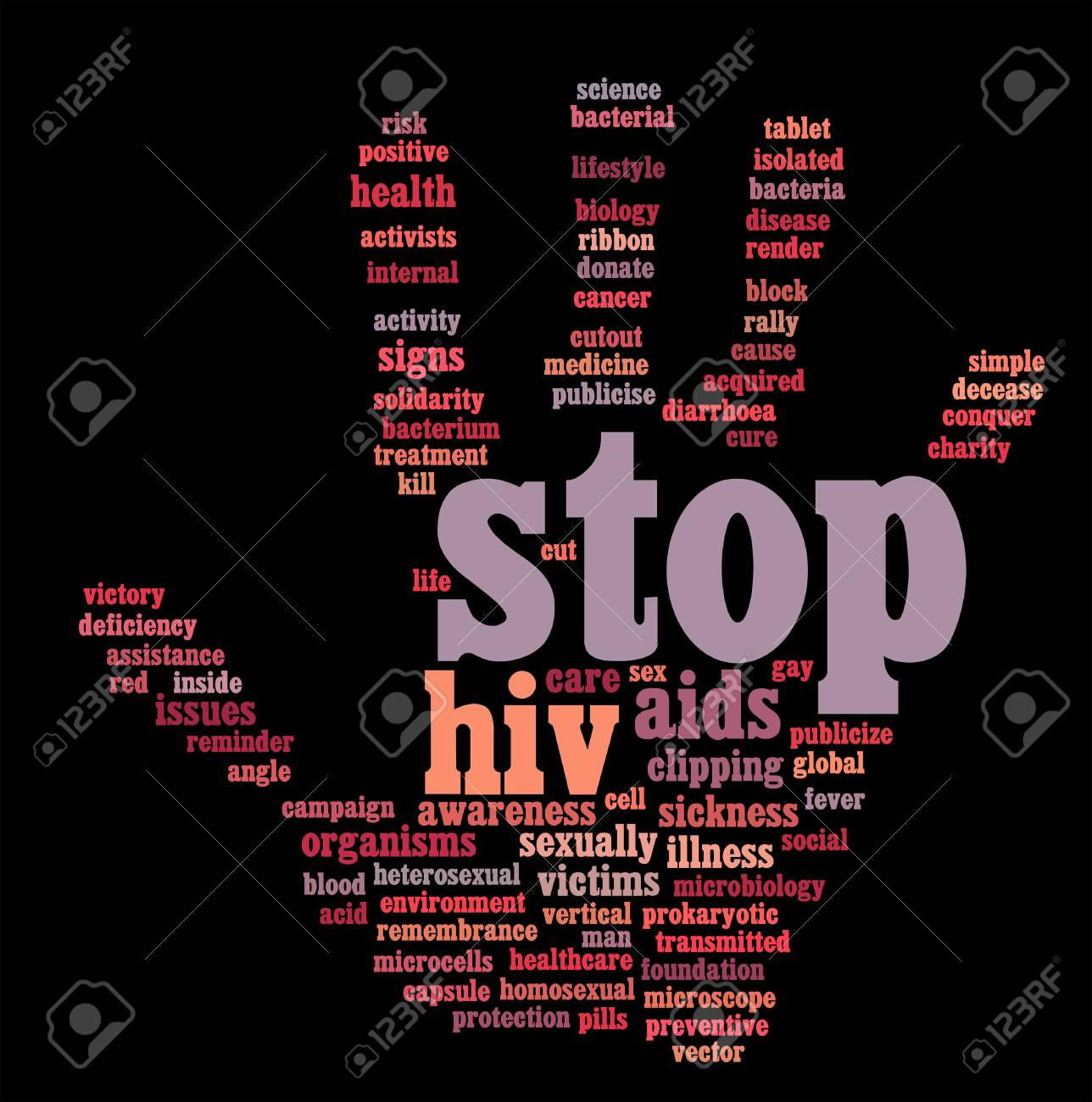 HIV AIDS info-text graphics and arrangement hand symbol concept on black background Stock Photo - 15874960