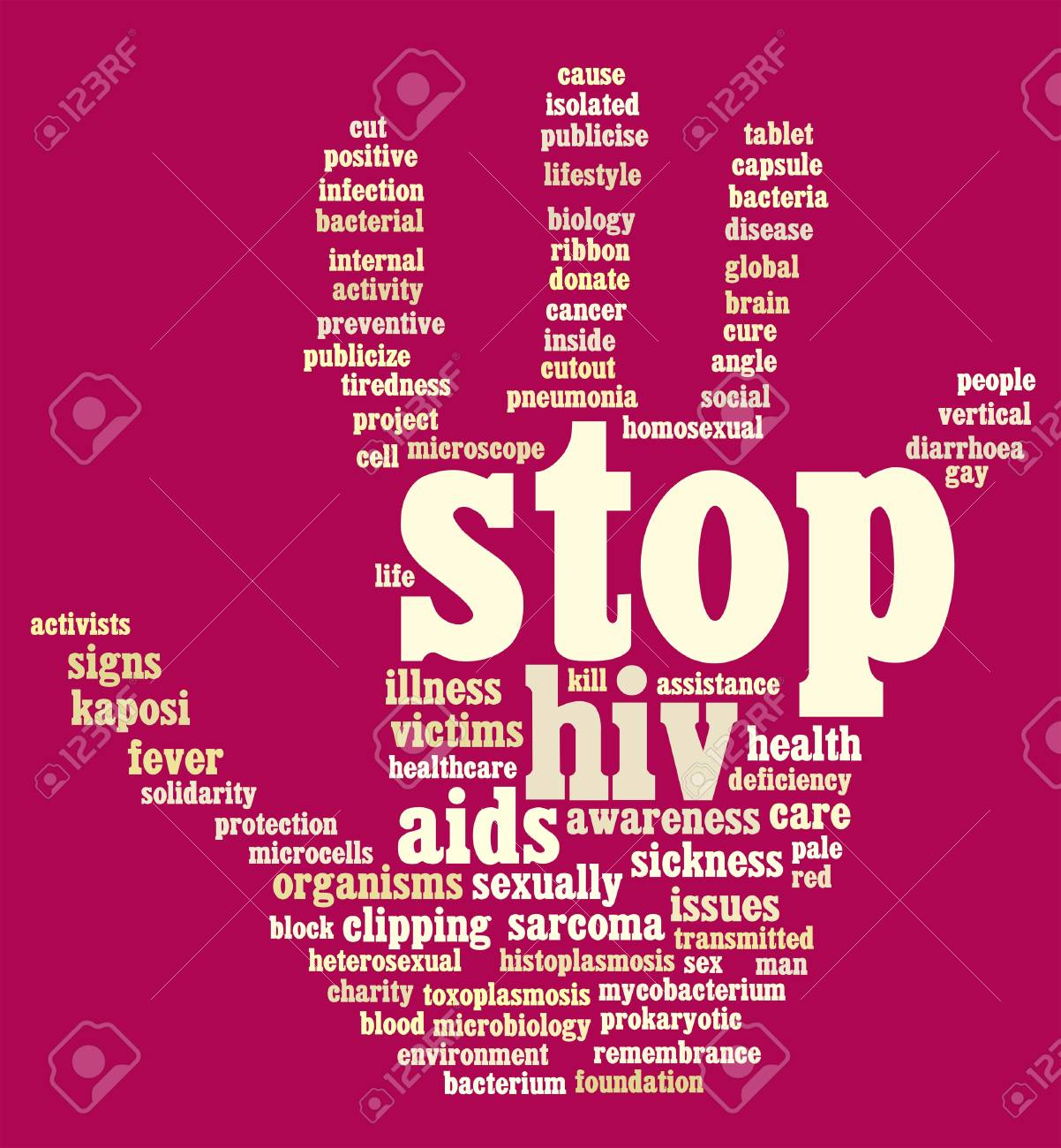 HIV AIDS info-text graphics and arrangement hand symbol concept Stock Photo - 15875090