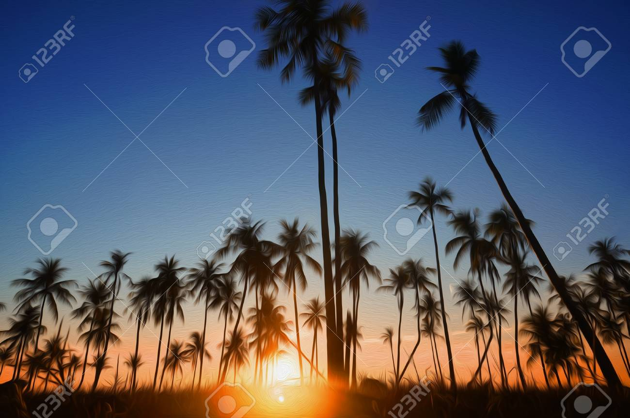 Dramatic stunning morning light sunset and Silhouetted of coconut
