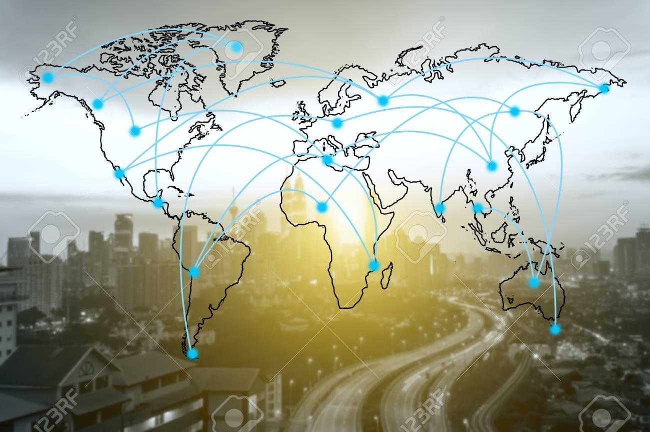 Carte Du Monde Kuala Lumpur.World Network Connection Concept World Map And Blur Kuala Lumpur
