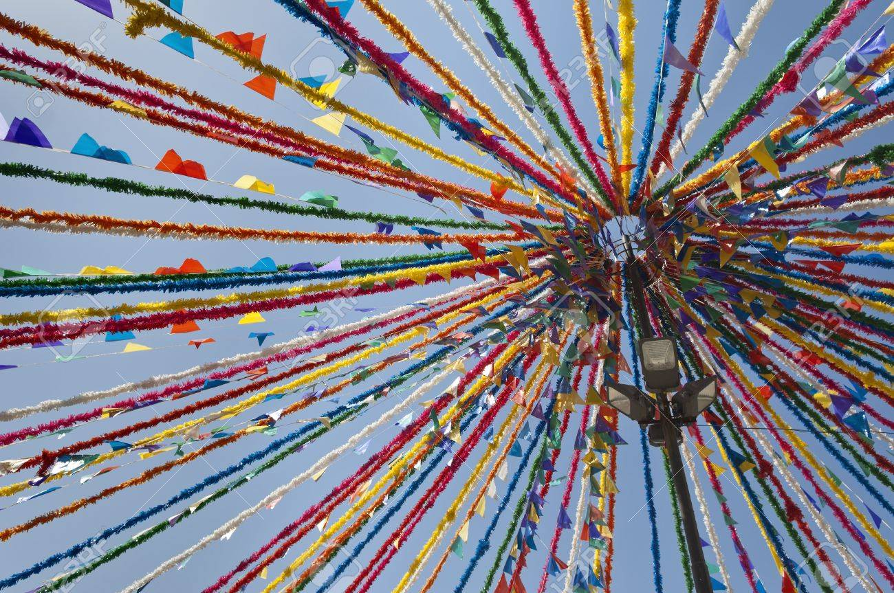 Detail Of Portuguese Street Traditional Decorations In A Summer