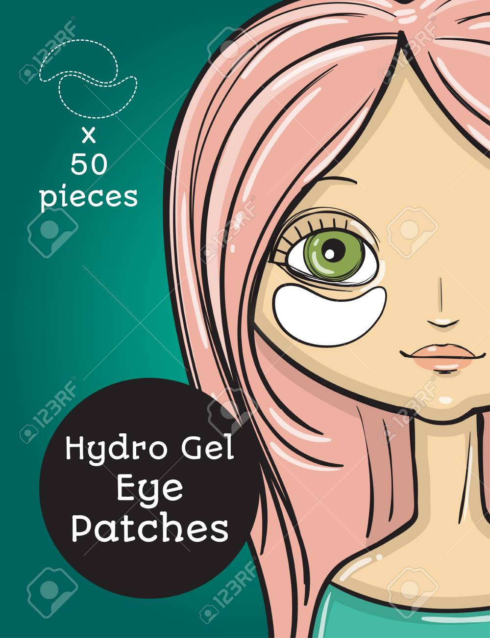 Hydro Gel eye Patches ads. Vector Illustration with girl, package..