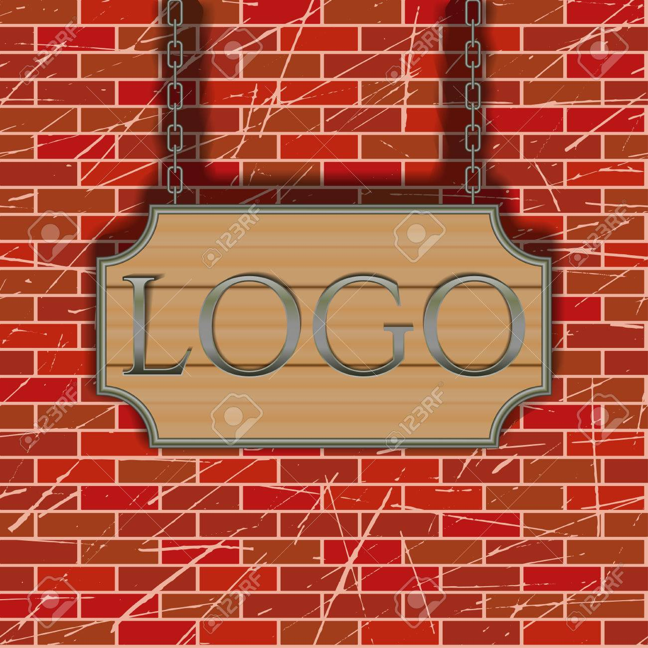 Vector Tavern Signboard Template On Brick Wall Background Royalty ...