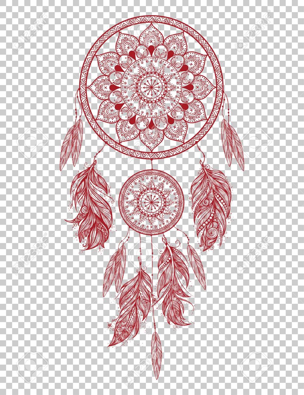 Kleurplaten Indianen Veren.Hand Getrokken Indiaanse Talisman Dreamcatcher Met Veren Vector Hipster Illustratie Geisoleerd