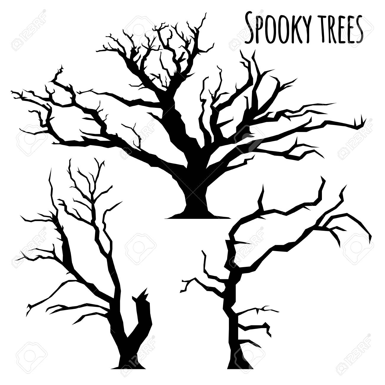 Collection Of Spooky Trees Silhouettes On The White Background Royalty Free Cliparts Vectors And Stock Illustration Image 86963745