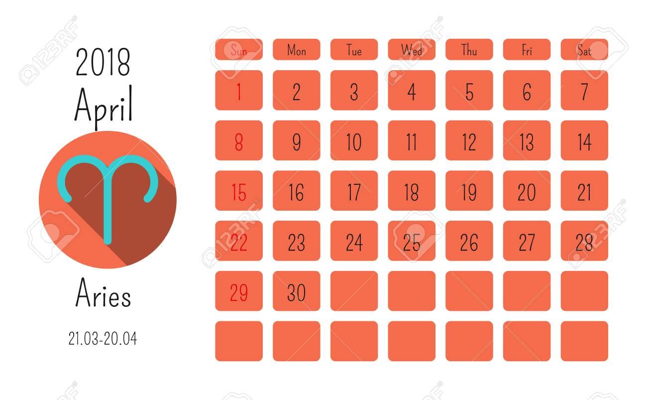 Calendario Oroscopo.Calendario Di Aprile 2018 Con Segni Zodiacali Segni Oroscopo Modello Colorato Piatta Puo Essere Utilizzato Per Il Web Stampa Carta Poster