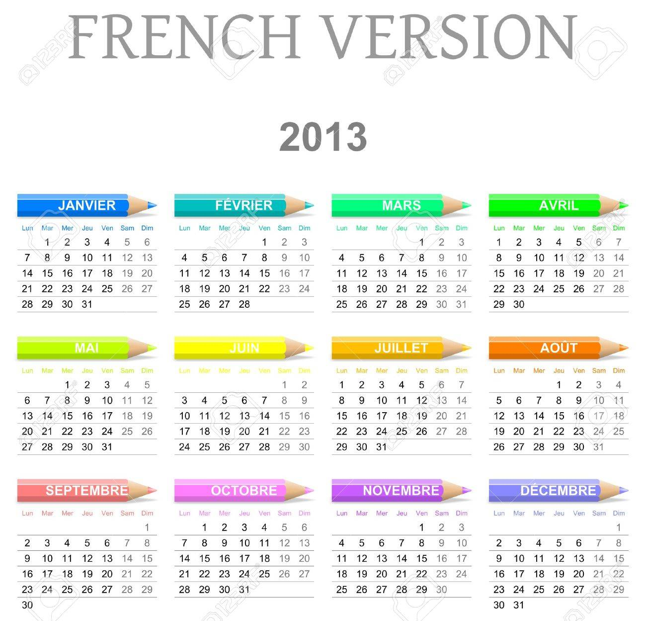 Colorful monday to sunday 2013 calendar with crayons french version illustration Stock Photo - 14636140