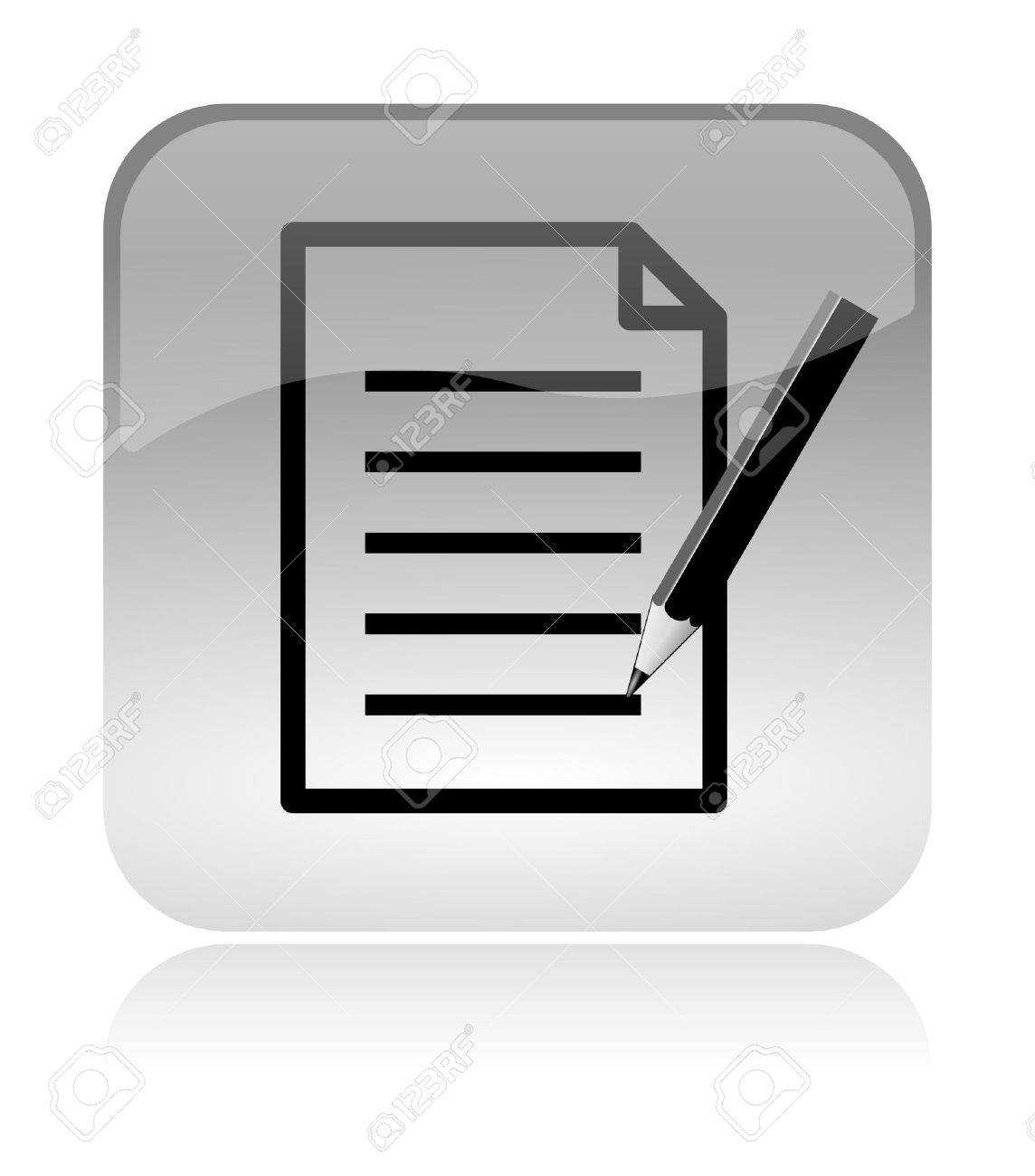 Fill form and document white, transparent and glossy web interface icon with reflection Stock Photo - 14635862