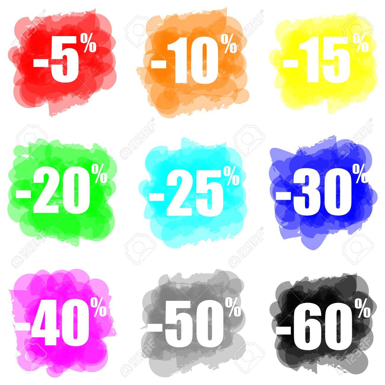 set of colorful paint splat discount concept Stock Photo - 14636127
