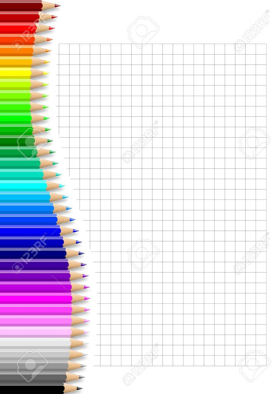 Rainbow of colorful wavy pencils wall on squared notebook white sheet illustration Stock Photo - 14636025