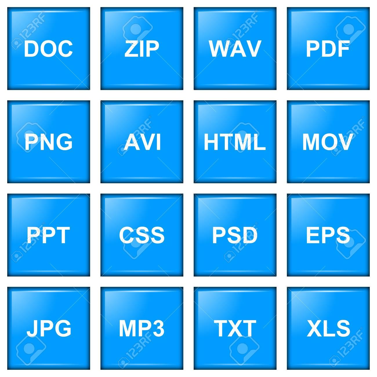 File extension blue icon series illustration Stock Illustration - 17909667