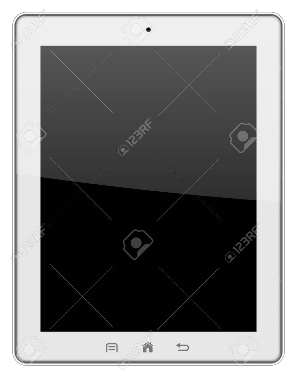 White tablet pc isolated on white background illustration Stock Photo - 17909422