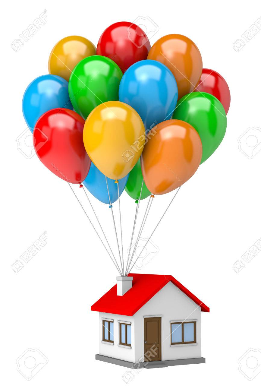 Up House Balloons Bunch Of Vibrant Color Balloons Raising Up An House Isolated