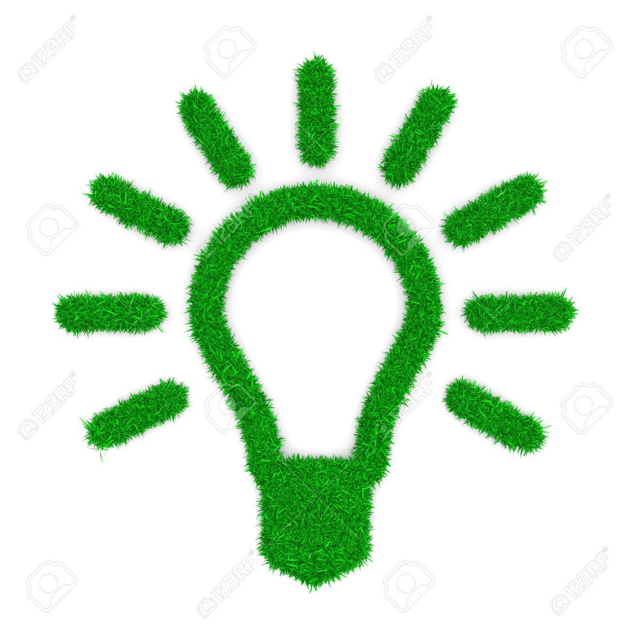 Grass Green Light Bulb Symbol Shape On White Background 3d