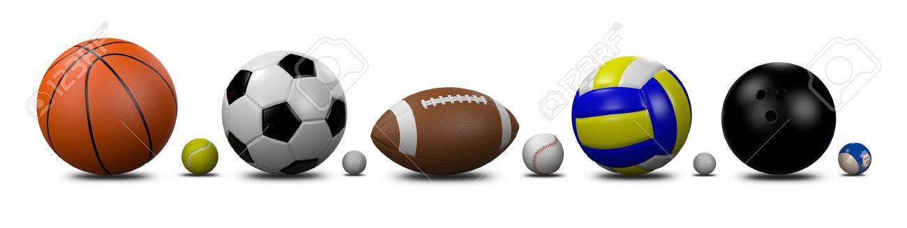 Sports Balls Collection On White Background 3D Illustration Stock