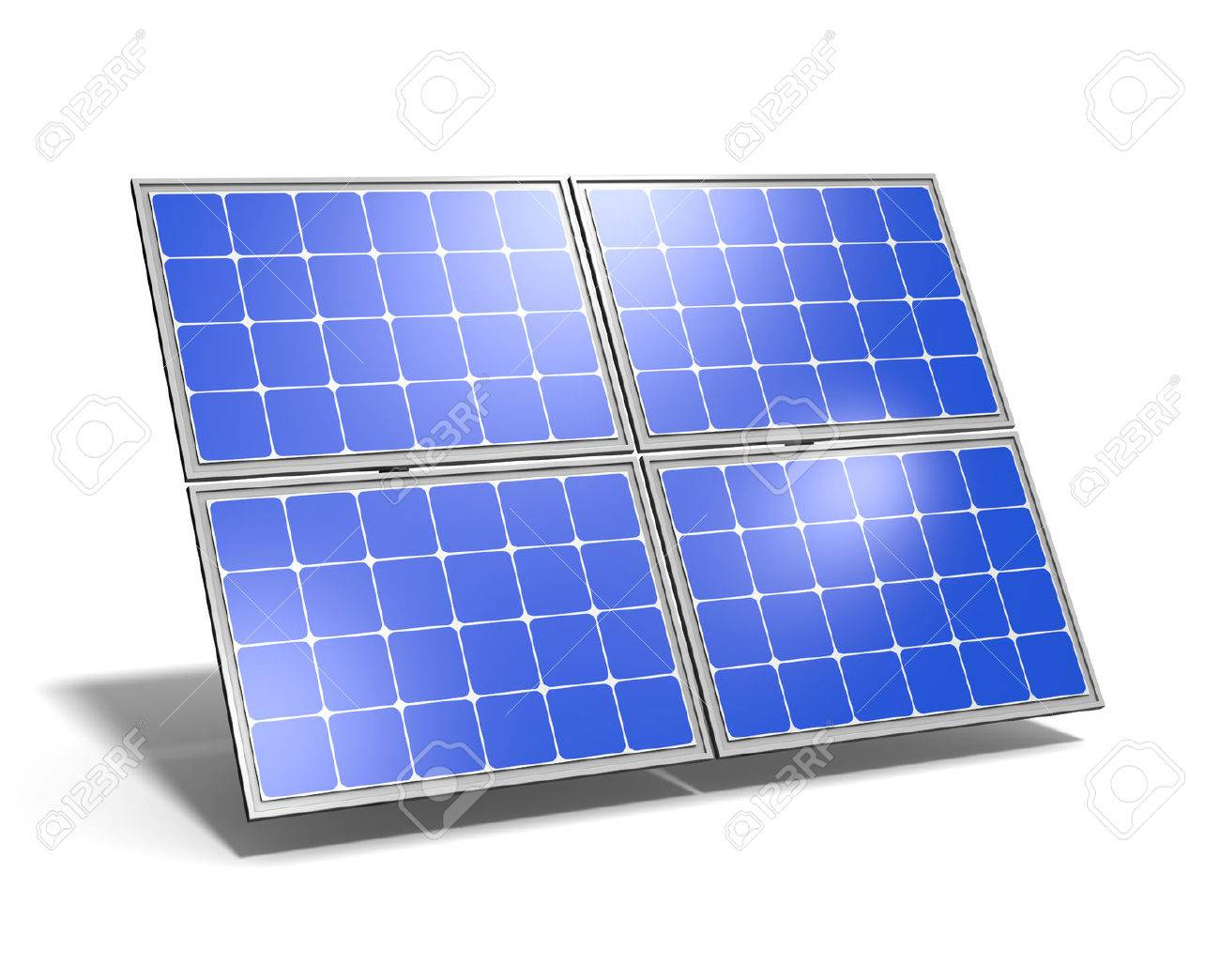 1 つの太陽電池パネル ホワイト バック グラウンド 3 D イラストを青空の