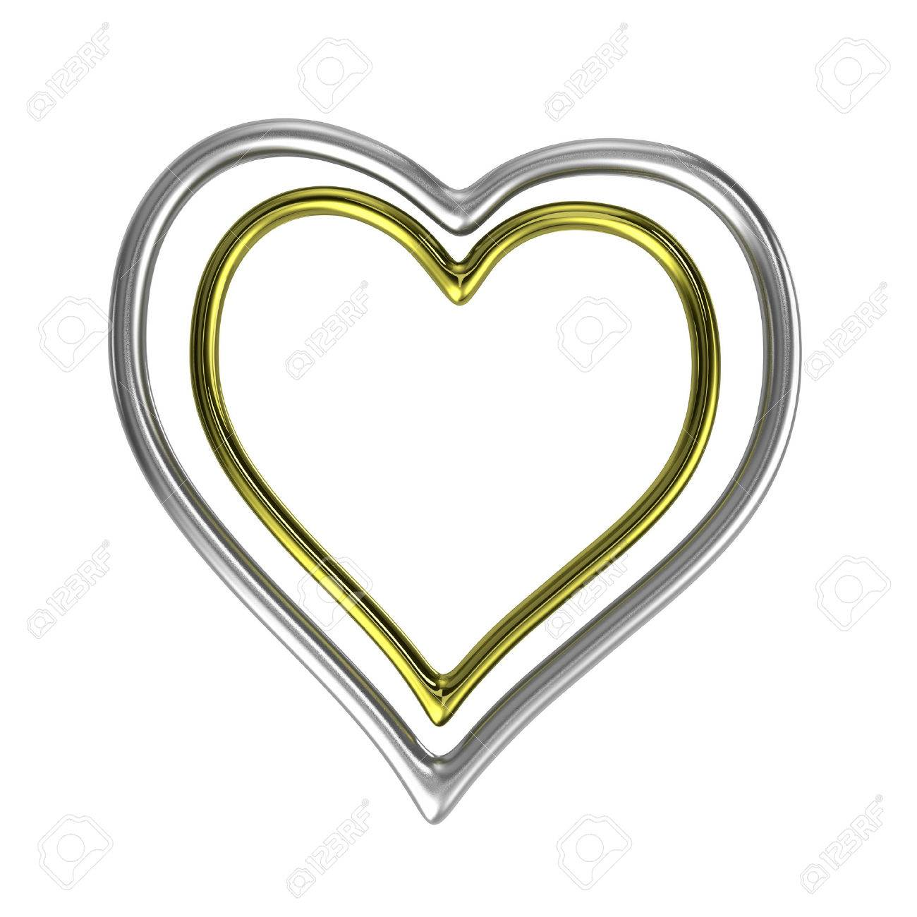 two concentric heart shaped golden and silver rings frame isolated
