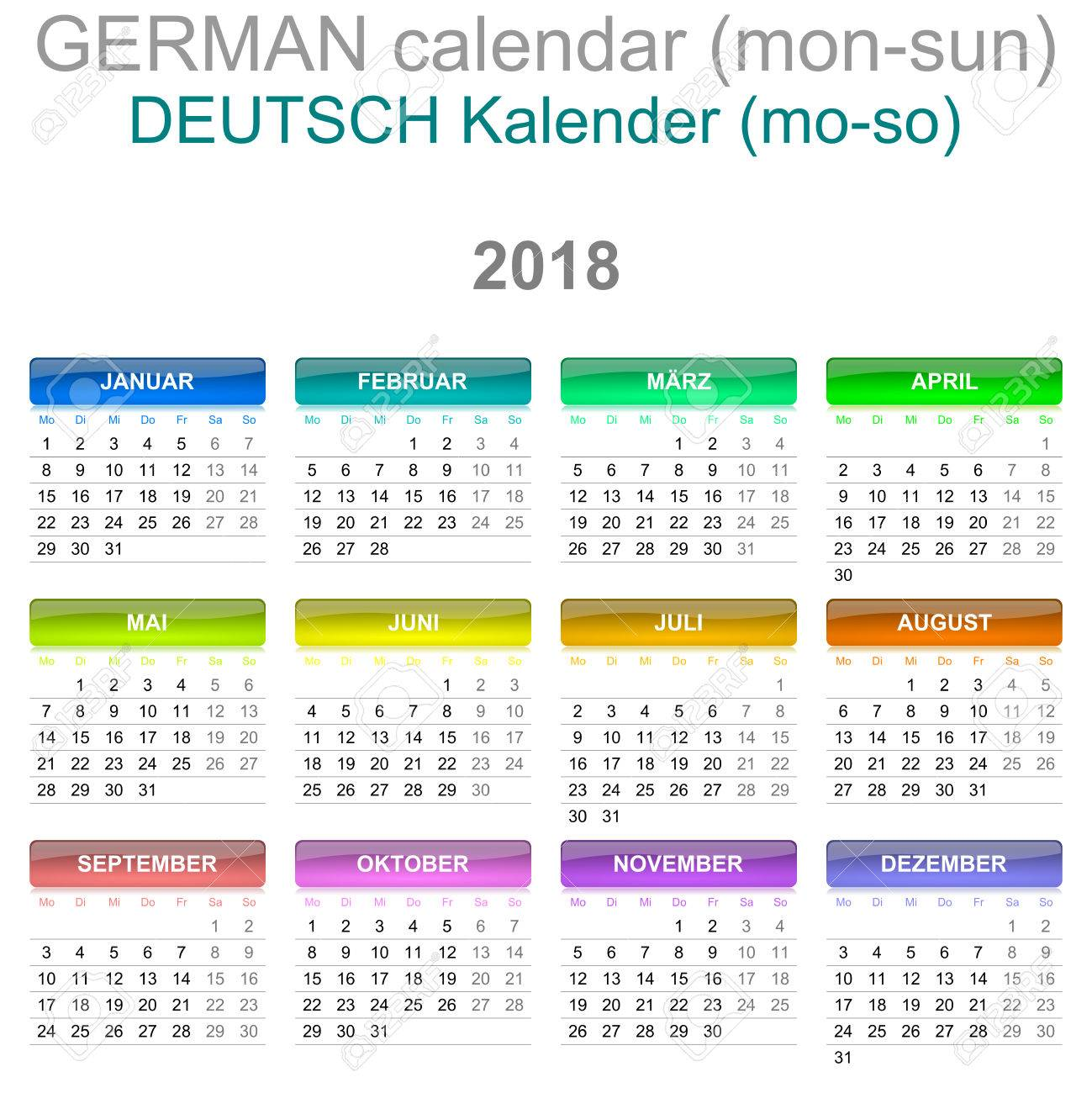 colorful monday to sunday 2018 calendar german language version illustration stock illustration 78017691