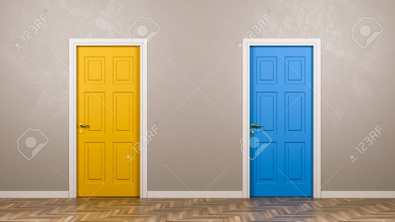 Two Closed Doors with Different Color in Front in the Room 3D Illustration, Choice Concept - 95745416