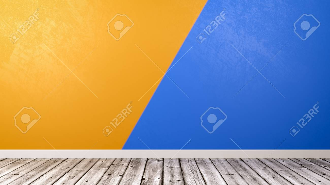 Empty Room With Wooden Floor And Two Colors Duotone Orange And ...