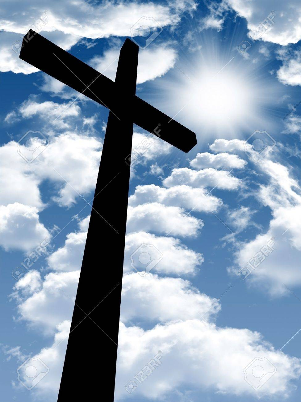Silhouette of the holy cross on background of storm clouds stock - Sun Cross Cross On A Wooden Brown Background